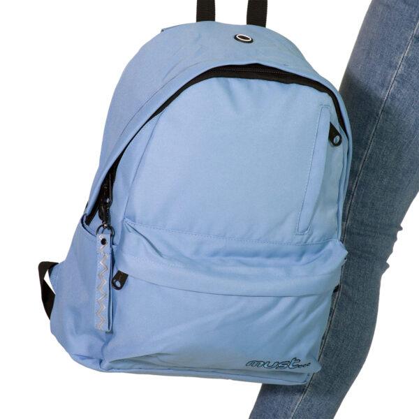 Τσάντα Πλάτης Must Monochrome Rpet Σιέλ με 4 Θήκες