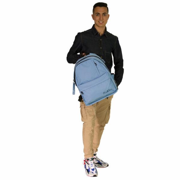 Τσάντα Πλάτης Must Monochrome Rpet Ανοιχτό Μπλε με 4 Θήκες
